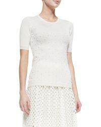 Lela Rose Pearl-Beaded Short-Sleeve Sweater - Lyst