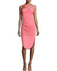 Halston Heritage Asymmetric Strap Dress - Lyst