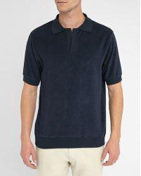 MELINDAGLOSS   Navy Terry Loop Polo Shirt   Lyst