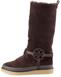 Tory Burch Dana Shearling-lined Suede Logo Tall Boot  - Lyst