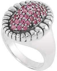 Lagos Medium Pave Sapphire Oval Ring, Pink - Lyst
