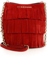 Burberry | Mini Fringed Suede Bucket Bag | Lyst