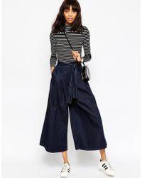 ASOS | Denim Super Wide Leg Jeans With Tie Waist In Indigo | Lyst