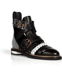 Vionnet Leather Cutout Ankle Boots - Lyst