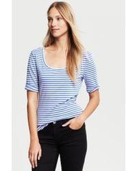 Banana Republic Striped Elbow Sleeve Timeless Tee Madison Blue - Lyst