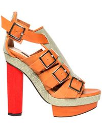 Chrissie Morris Priscilla Stingray Green/Red orange - Lyst