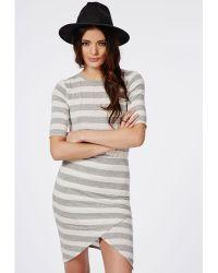 Missguided Asymmetric Hem Bodycon Dress Cream Marl Stripe - Lyst