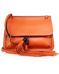 Gucci Bamboo Daily Leather Flap Shoulder Bag orange - Lyst