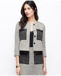 Ann Taylor Colorblock Tweed Jacket - Lyst