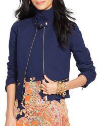 Ralph Lauren Lauren Full Zip Peplum Jacket - Lyst