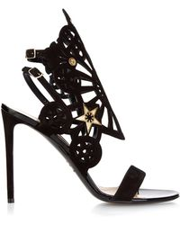 Nicholas Kirkwood Laser-Cut Suede Stiletto Sandals gold - Lyst