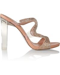 Rene Caovilla Crystal-Embellished Leather Sandals - Lyst