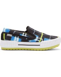 Kenzo Black and Chartreuse Double Check Skate Sneakers - Lyst