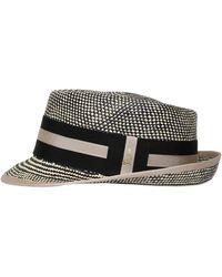Barbisio - Woven Two Tone Panama Straw Hat - Lyst