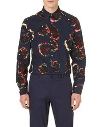 PS by Paul Smith Painted Large Flower Shirt Navy - Lyst