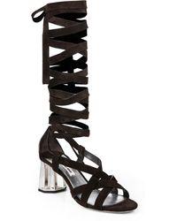 Miu Miu Suede Mirrored Heel Sandals - Lyst