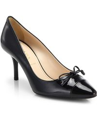 Prada Patent Leather Bow Pumps - Lyst