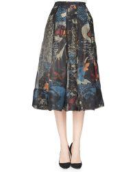 Donna Karan New York Street Art-Print Pleated Cotton Skirt - Lyst