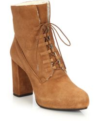 Diane von Furstenberg | Pacey Faux Fur-lined Lace-up Suede Booties | Lyst