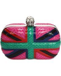 Alexander McQueen Britannia Snakeskin Skull-Clasp Clutch Bag - Lyst