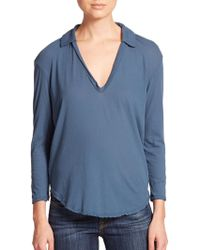 James Perse Cotton Jersey Top blue - Lyst