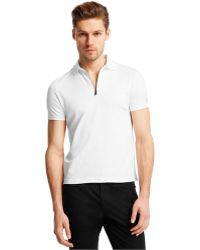 Kenneth Cole Reaction Quarter-Zip Tech Polo white - Lyst