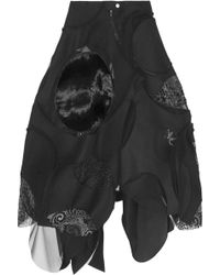 Junya Watanabe Patchwork Woolblend Felt Midi Skirt - Lyst