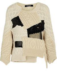 Junya Watanabe Patchwork Cableknit Woolblend Sweater - Lyst