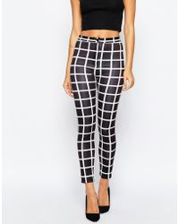 ASOS | Stretch Skinny Trousers In Mono Grid Check | Lyst
