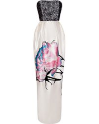Prabal Gurung Embroidered Bodice Painted Floral Gown - Lyst