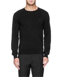 Alexander McQueen Contrast Back Wool Sweater black - Lyst