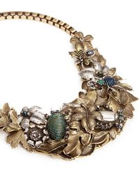 Miriam Haskell Foliage And Insect Appliqué Metal Bib Necklace gold - Lyst