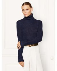 Ralph Lauren Collection Linen-silk Turtleneck Sweater - Lyst