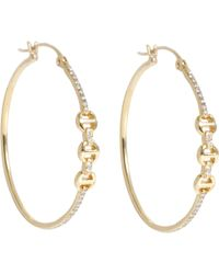 Hoorsenbuhs - Diamond & Gold Tri-link Hoops - Lyst
