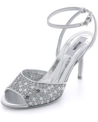 Moschino Star Sequined Metallic Sandals - Silver - Lyst