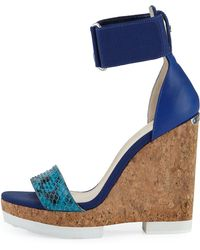 Jimmy Choo Neston Snake Wedge Sandal - Lyst