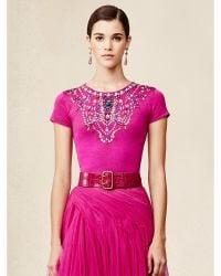 Ralph Lauren Silk-Cashmere Embellished Top - Lyst