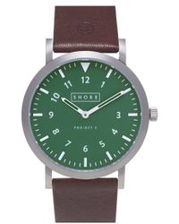 Shore Projects - 'anglesey' Leather Strap Watch - Lyst