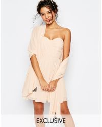 TFNC | Wedding Chiffon Cover Up With Embellishment In Nude Pink | Lyst