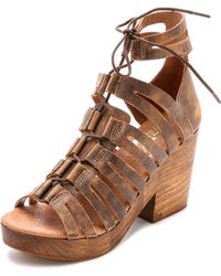 Freebird by Steven Ibiza Lace Up Sandals - Tan - Lyst
