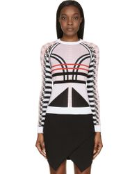Versace Black And Pink Patterned Knit Sweater - Lyst