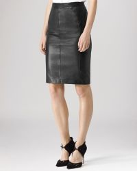 Reiss Skirt  Claudette Fabric Back Leather - Lyst