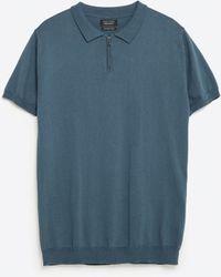 Zara   Polo Shirt With Zip   Lyst