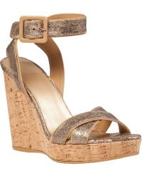 Stuart Weitzman Annex Wedge Sandal Penny Leather gray - Lyst