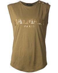 Balmain Green Logo T-shirt - Lyst
