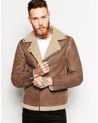 Asos Biker Jacket In Faux Shearling - Lyst