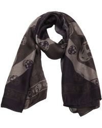 Alexander McQueen Purple And Grey Union Jack And Skull Print Scarf - Lyst