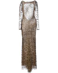 Roberto Cavalli Leather Applique Lace Dress - Lyst