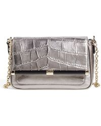 Diane von Furstenberg '440 - Martini' Croc Embossed Metallic Leather Shoulder Bag - Metallic - Lyst