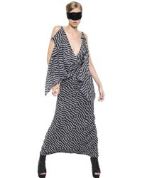 Gareth Pugh Draped Printed Stretch Georgette Dress - Lyst